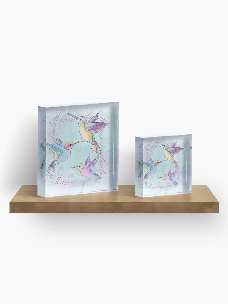 Alternate view of Hummingbird Flutterings Acrylic Block