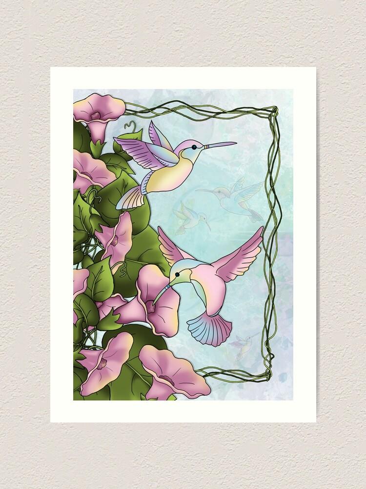 Alternate view of Hummingbird Flutterings Art Print