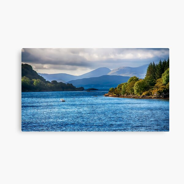 Mountain Scotland Father gift giclee print canvas blue wall art Loch na Keal Mull art Wanderlust gift Ben More Mull travel gift