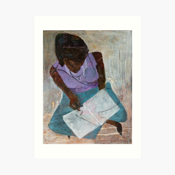 Black Woman Reading Art Print