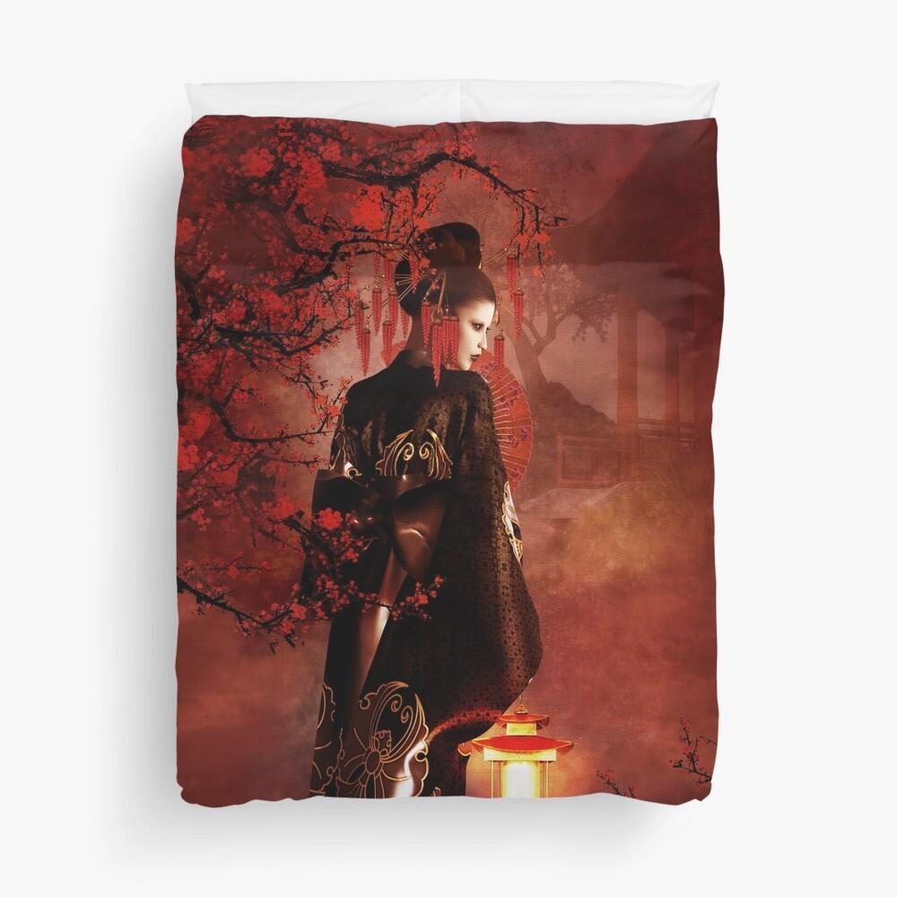 Sakura Red Duvet Cover