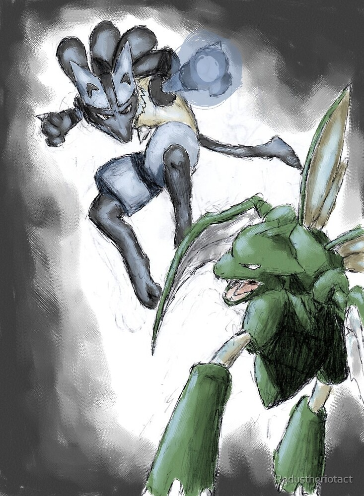 Lucario and Scyther do battle by Redustheriotact