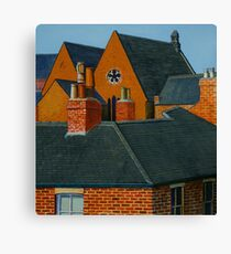 Rooftops, Oil and Acrylic on Paper, 24.5x23cm Canvas Print