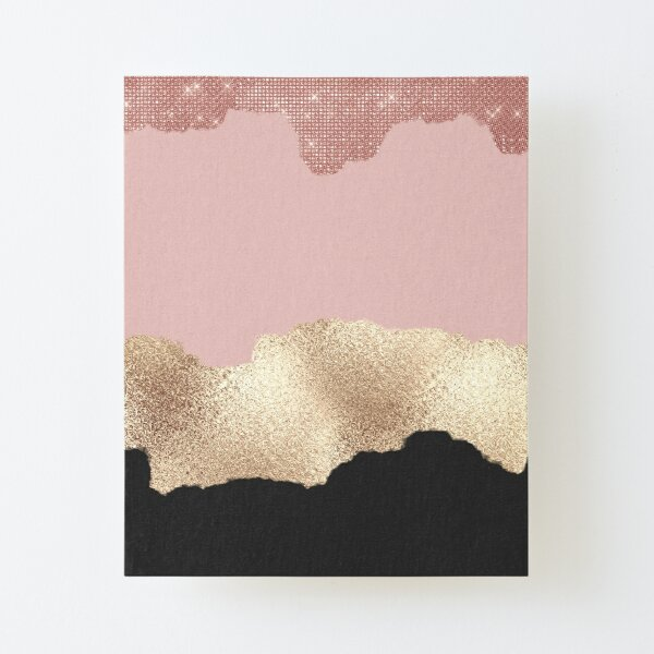 Rose Gold Glitter Black Pink Abstract Girly Art Canvas Mounted Print