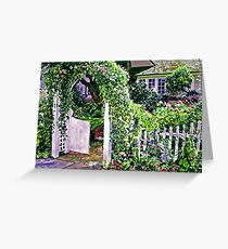 Charming Cottage Gate Greeting Card
