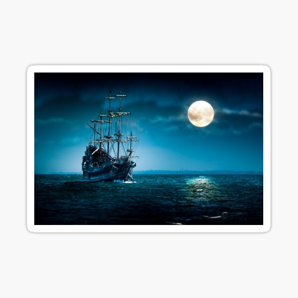 Old Pirate Ship At Full Moon Flying Dutchman Sailing Sticker