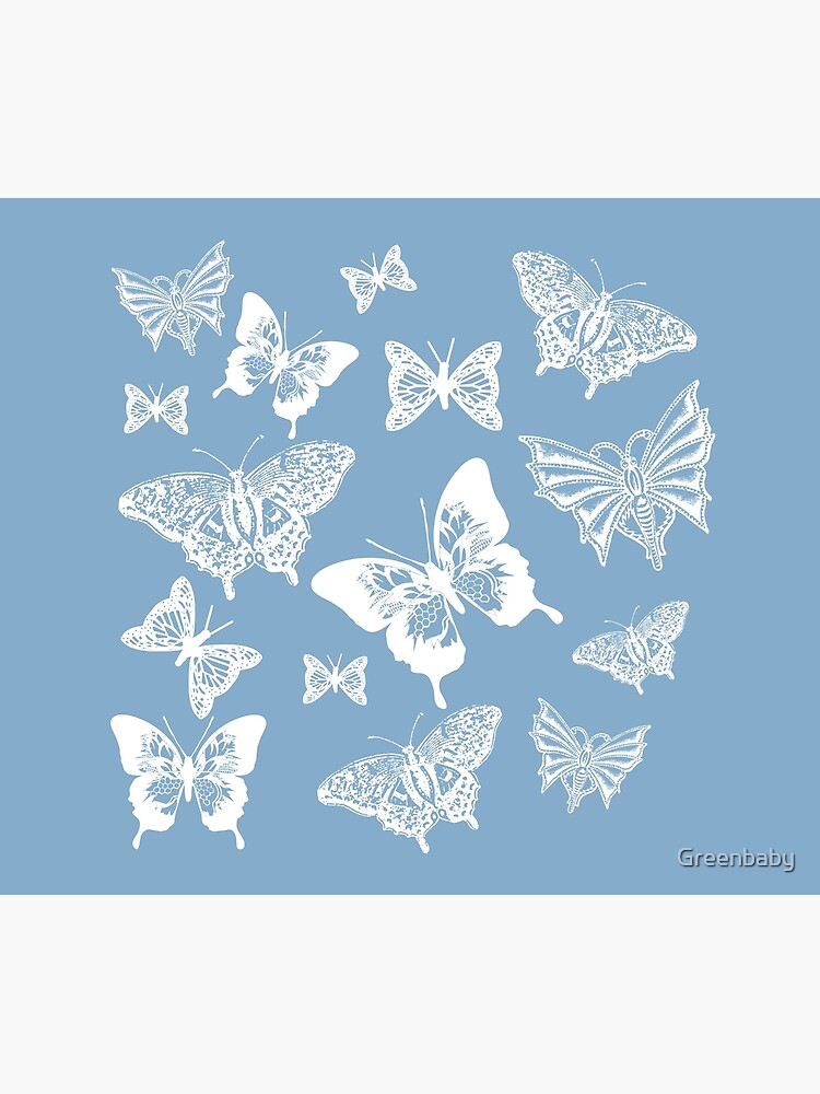 White Butterflies on Smoky Blue Grey Background by Greenbaby