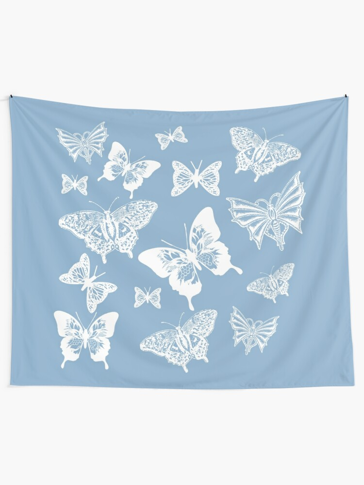 Alternate view of White Butterflies on Smoky Blue Grey Background Tapestry