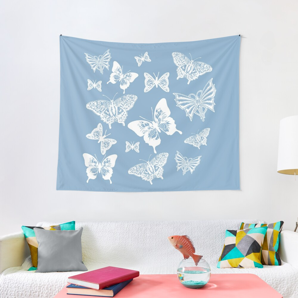 White Butterflies on Smoky Blue Grey Background Tapestry