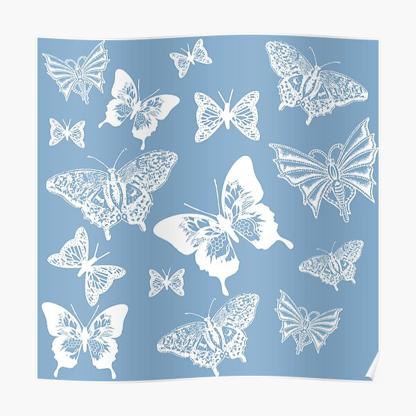 White Butterflies on Smoky Blue Grey Background Poster