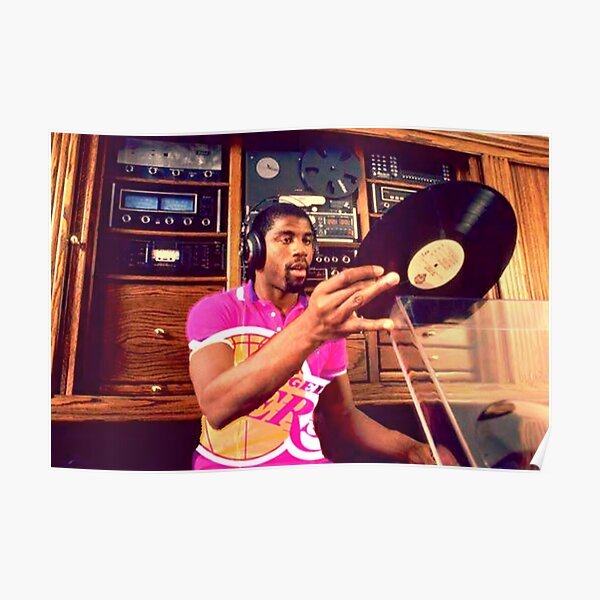 Magic Johnson DJ'ing Lakers Poster