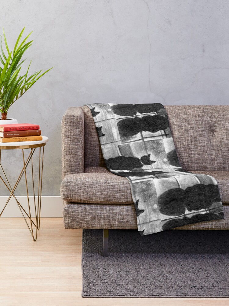 Alternate view of Two Cats-Best Buddies in Charcoal Throw Blanket