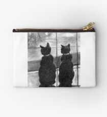Two Cats-Best Buddies in Charcoal Zipper Pouch
