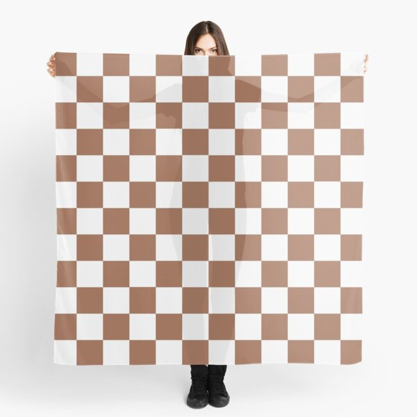Checkered Brown and White  Scarf
