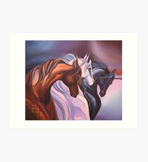 Horse painting, Handwork, Oil painting on canvas Art Print
