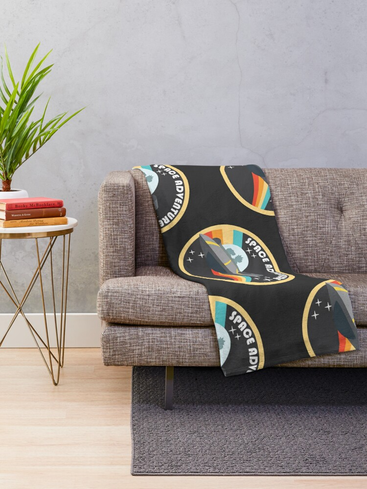Alternate view of space adventure RICK AND MORTY yellow Throw Blanket