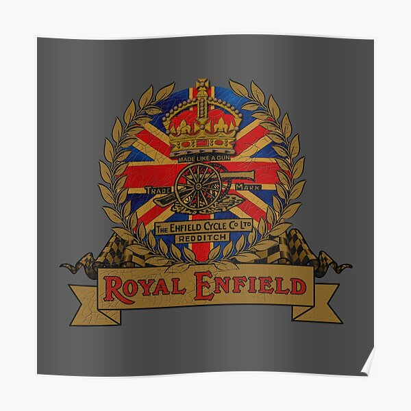 Classic Royal Enfield Crest Motorcycle design by MotorManiac Poster
