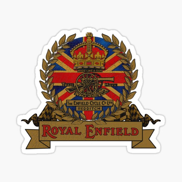 Classic Royal Enfield Crest Motorcycle design by MotorManiac Sticker