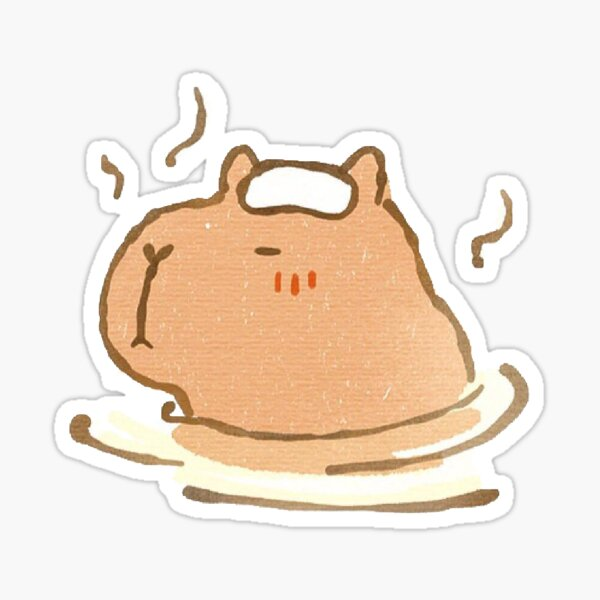 Capybara relaxing in a hot spring Sticker