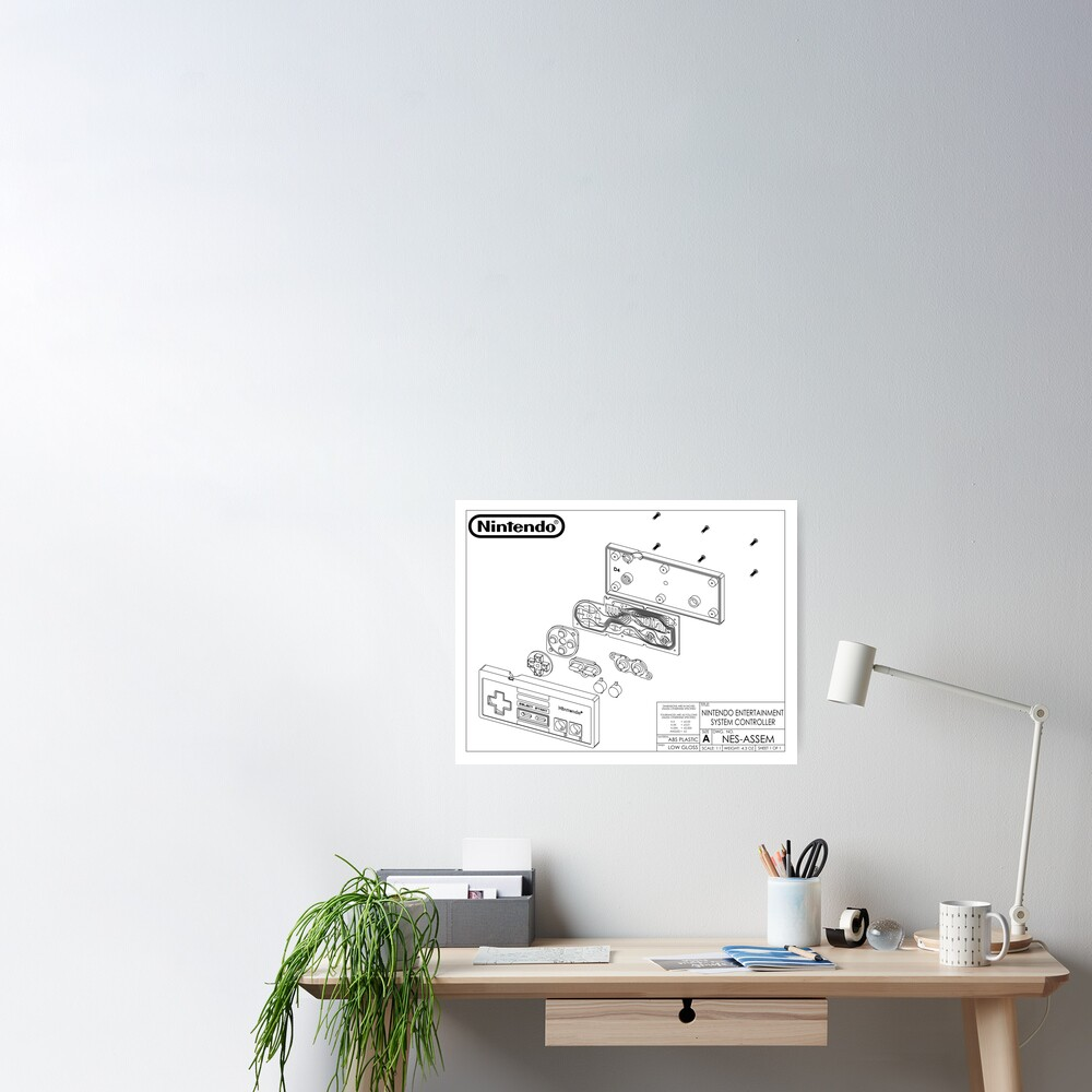 """""""Exploded NES Controller Schematic"""" Poster by ..."""