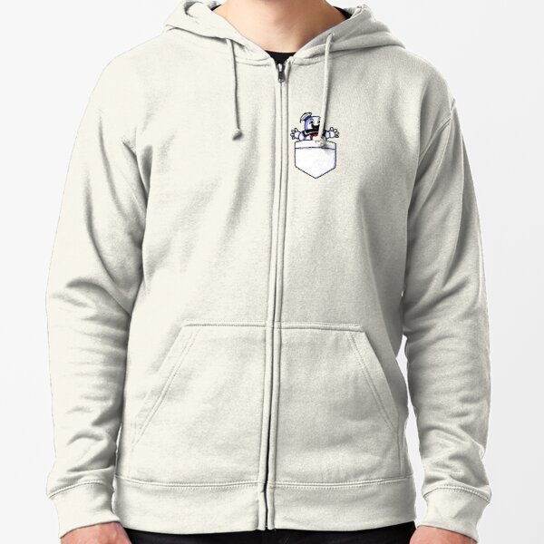 Pocket Sized Marshmallow Man  Zipped Hoodie