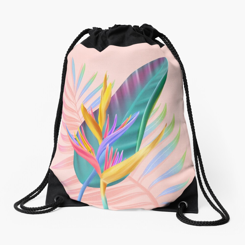 tropical bird of paradise Drawstring Bag