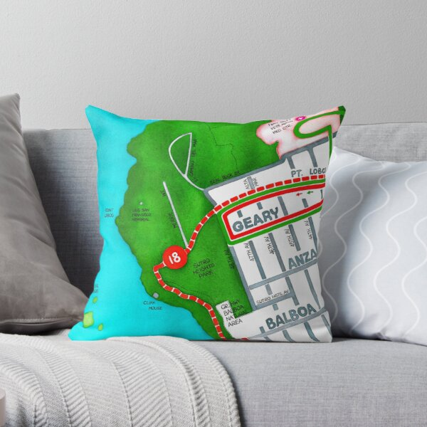 San Francisco map - Outer Richmond Throw Pillow