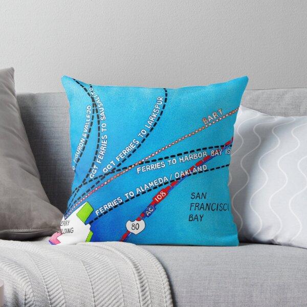 San Francisco map - Embarcadero Throw Pillow