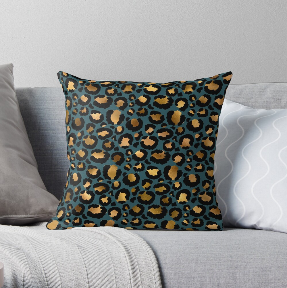 Gold and Black on Petrol Cheetah  Glitter Skin Throw Pillow