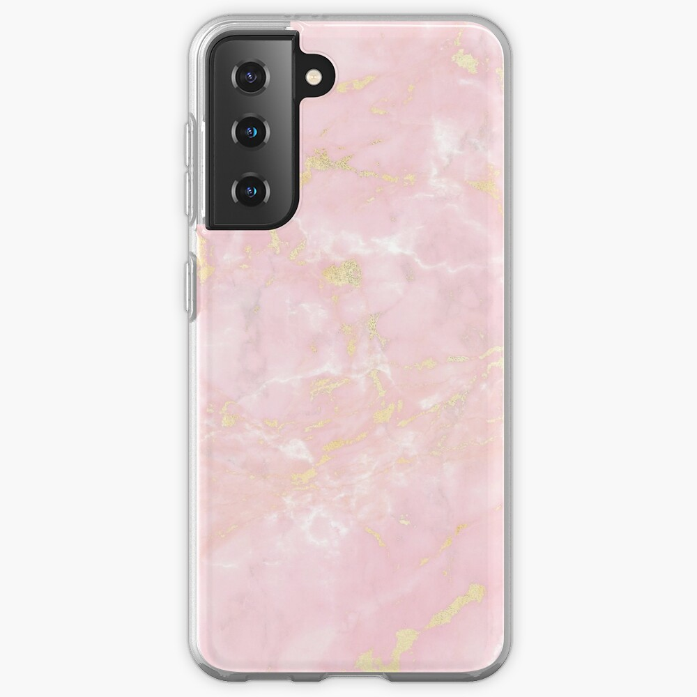Gold Metal Veines on Pink Marble  Case & Skin for Samsung Galaxy