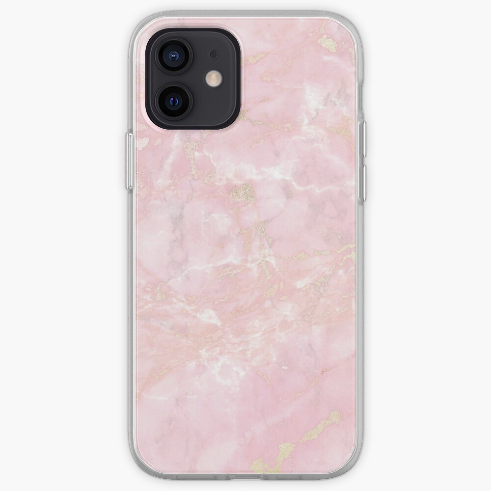 RoseGold Metal Veines on Pink Marble  iPhone Case & Cover