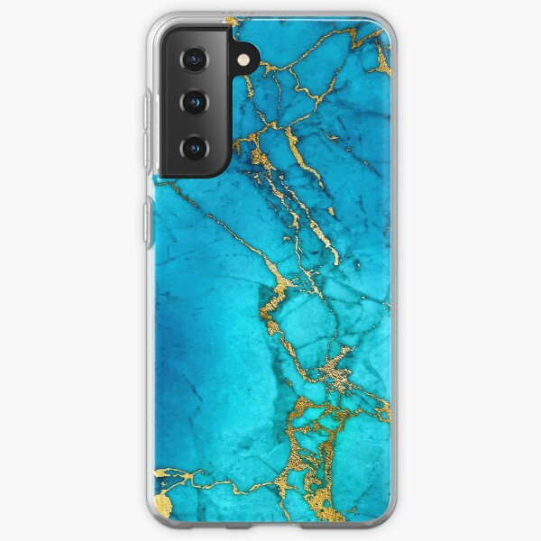 Teal Blue Marble and Gold Glitter Veins Samsung Galaxy Soft Case