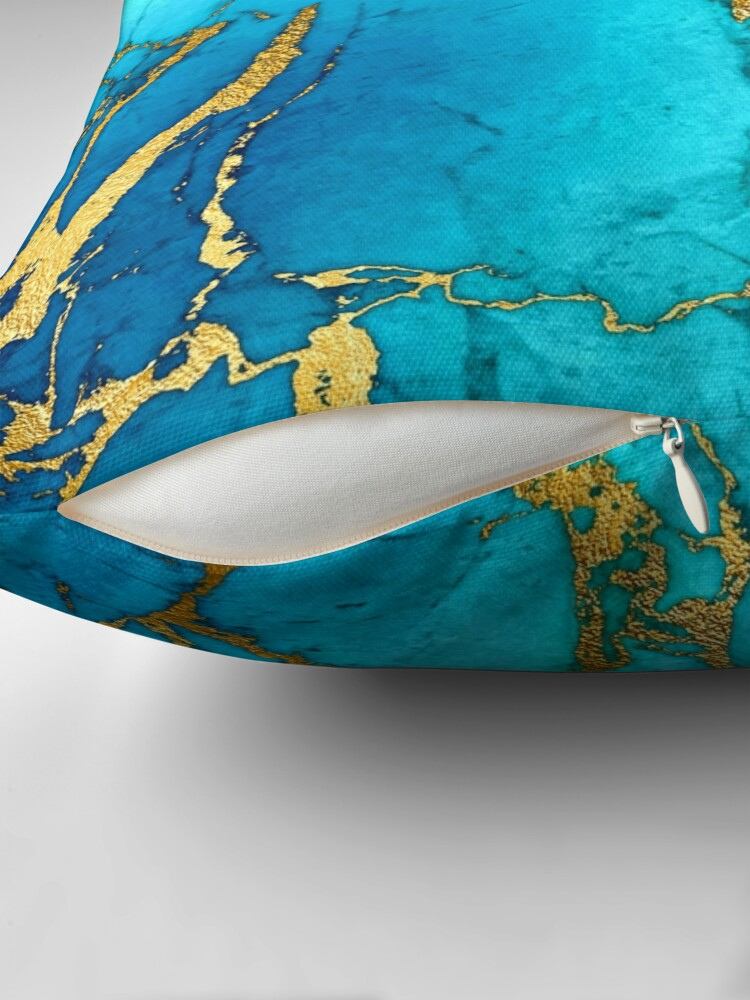 Alternate view of Teal Blue Marble and Gold Glitter Veins Throw Pillow