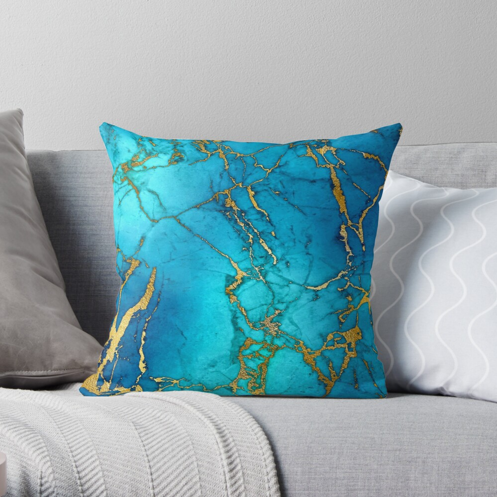 Teal Blue Marble and Gold Glitter Veins Throw Pillow