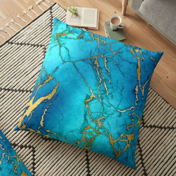 Teal Blue Marble and Gold Glitter Veins Floor Pillow