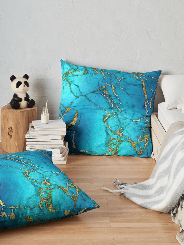 Alternate view of Teal Blue Marble and Gold Glitter Veins Floor Pillow