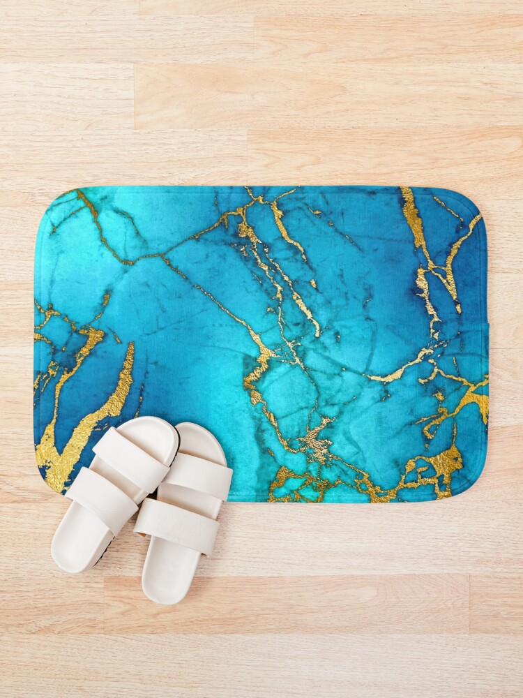 Alternate view of Teal Blue Marble and Gold Glitter Veins Bath Mat