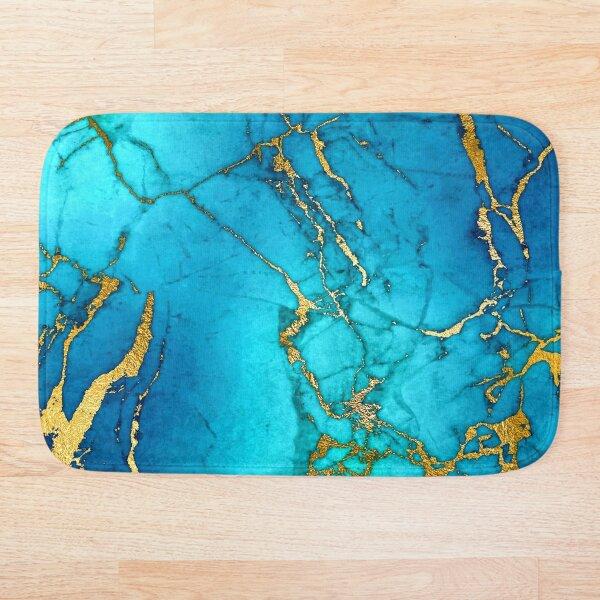 Teal Blue Marble and Gold Glitter Veins Bath Mat