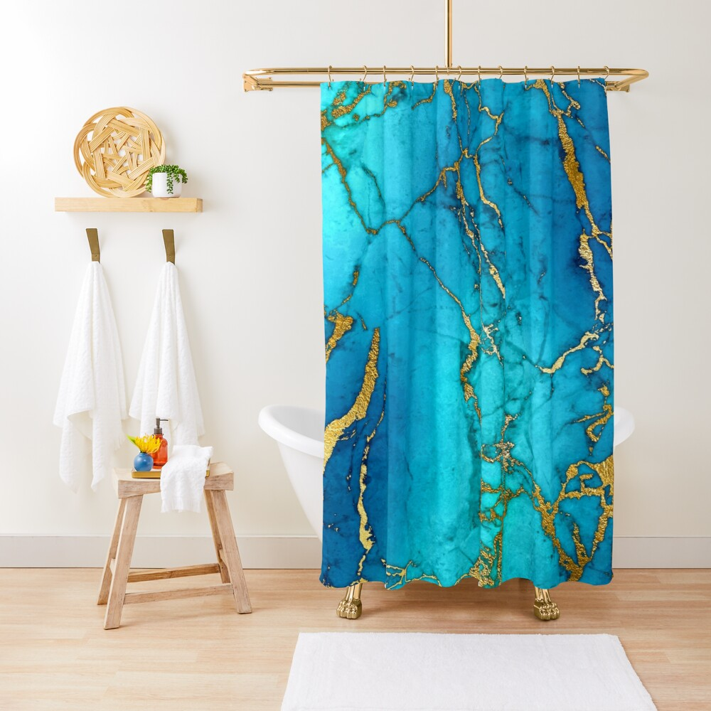 Teal Blue Marble and Gold Glitter Veins Shower Curtain