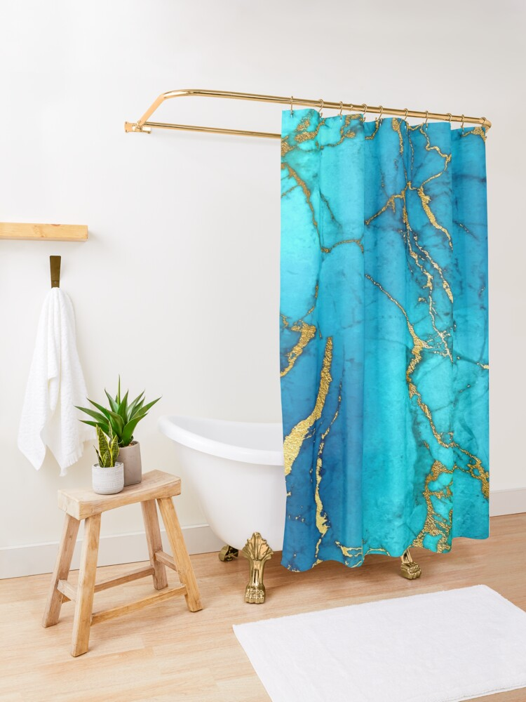Alternate view of Teal Blue Marble and Gold Glitter Veins Shower Curtain