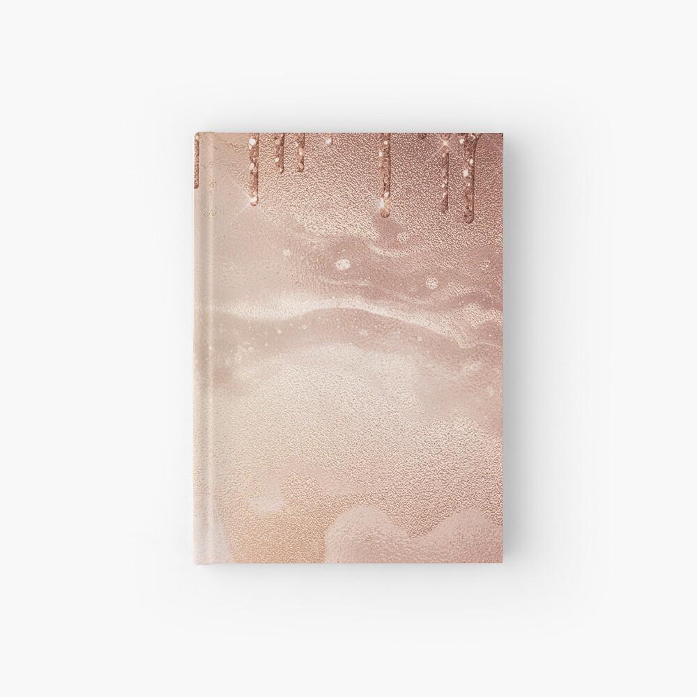 Copper Bronze Glitter Rain on Shiny Marble Hardcover Journal