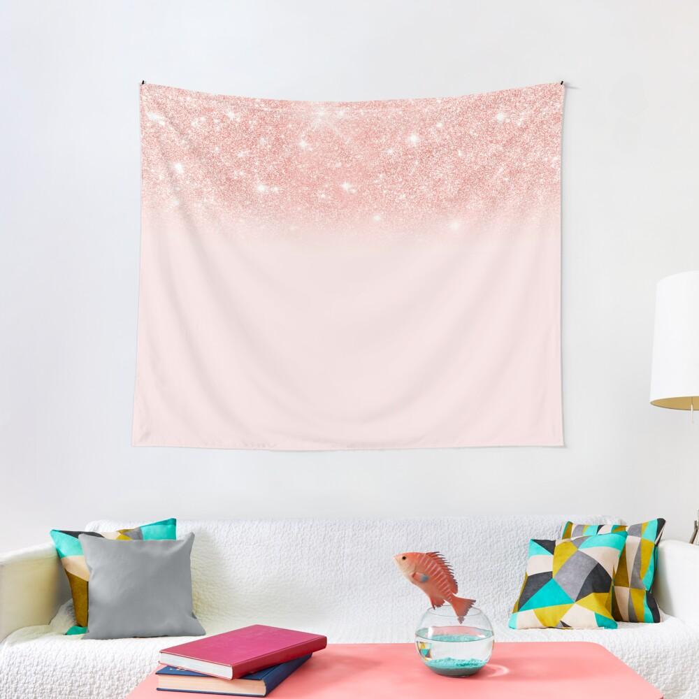 Blush Rosegold Glitter  Tapestry