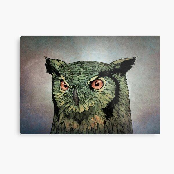Owl - Red Eyes Metal Print