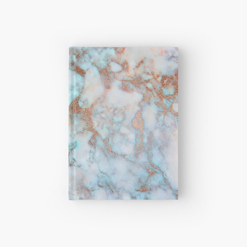 Copper Veins on light blue marble Hardcover Journal