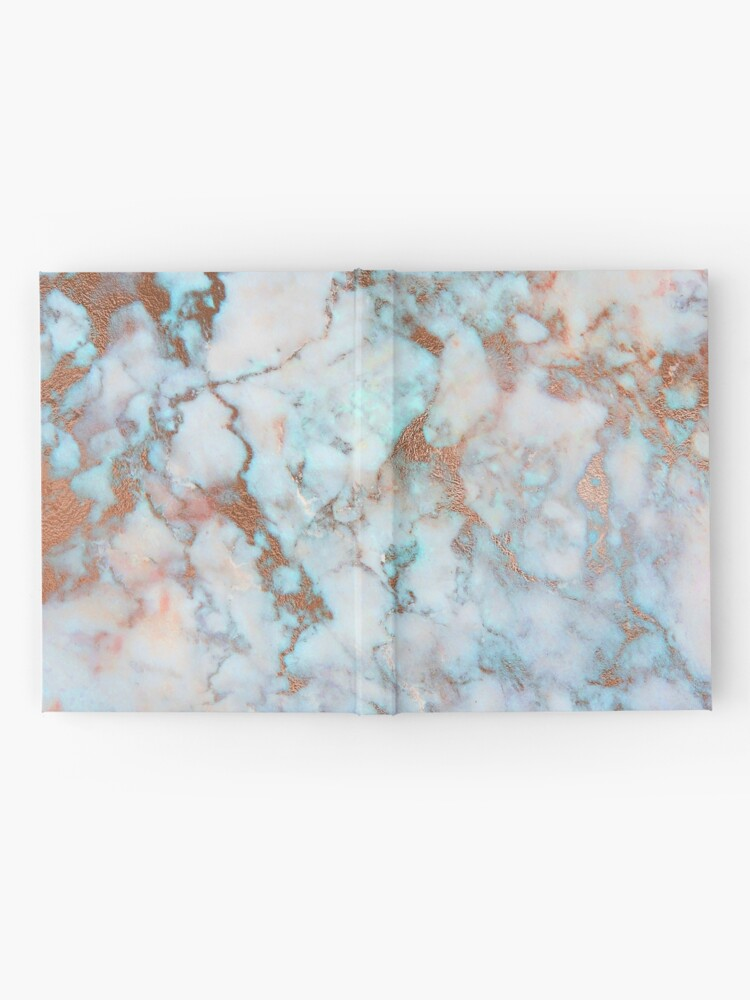 Alternate view of Copper Veins on light blue marble Hardcover Journal
