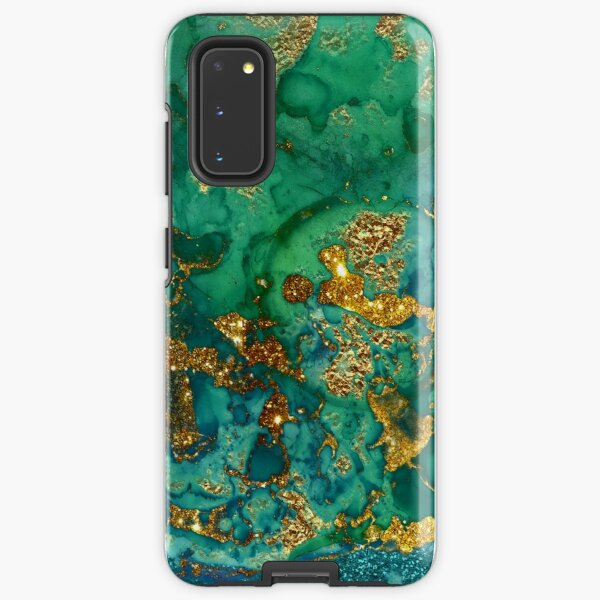 Sparkling Gold Glitter on Green and Blue marble Samsung Galaxy Tough Case