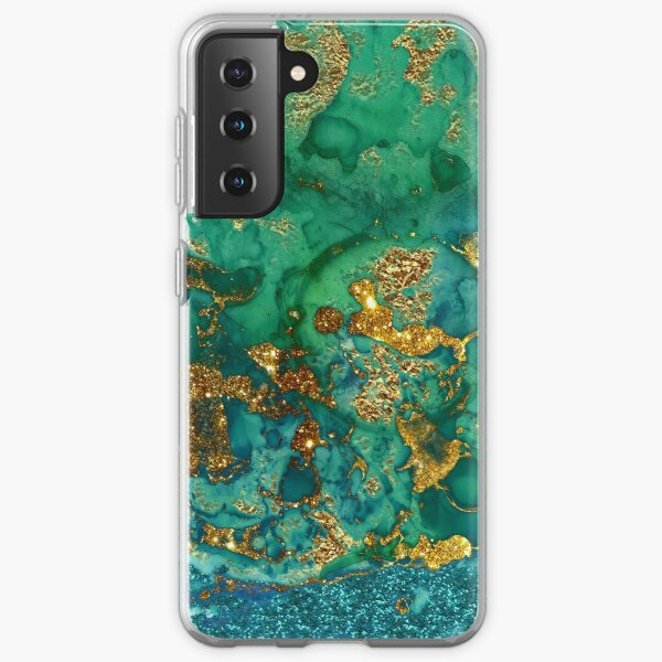 Sparkling Gold Glitter on Green and Blue marble Samsung Galaxy Soft Case