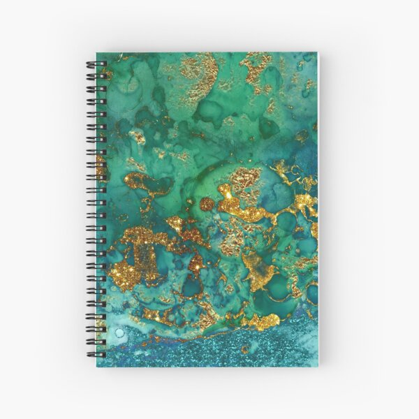 Sparkling Gold Glitter on Green and Blue marble Spiral Notebook
