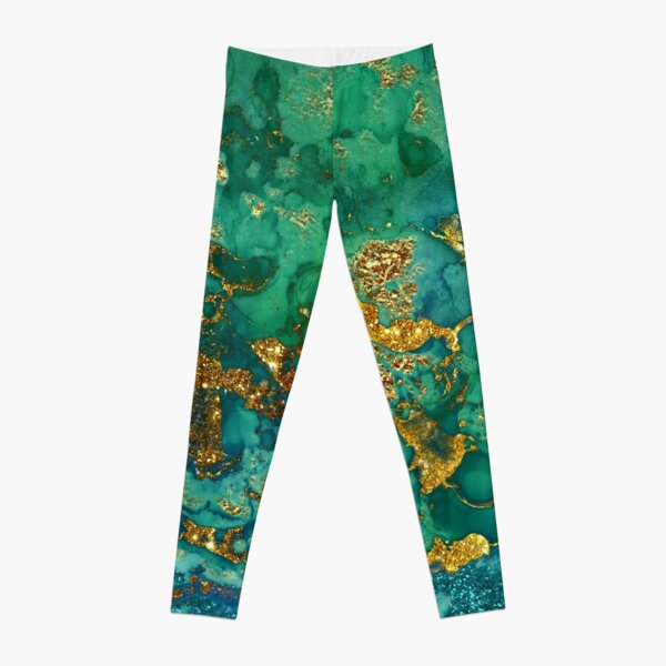 Sparkling Gold Glitter on Green and Blue marble Leggings