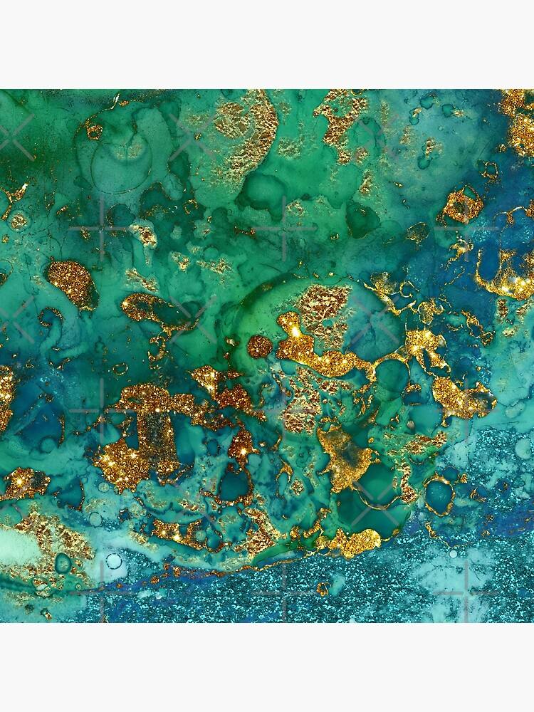 Sparkling Gold Glitter on Green and Blue marble by MysticMarble